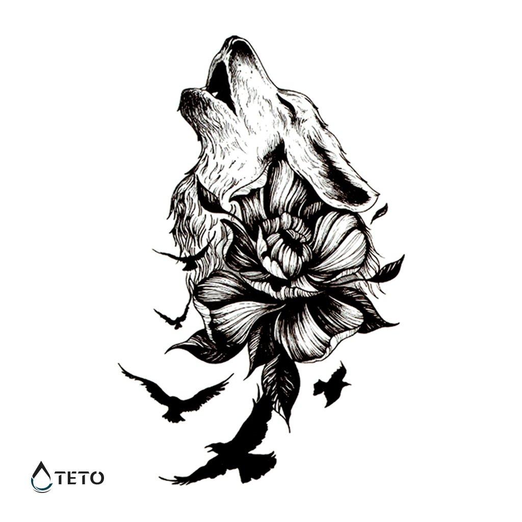 Vlk s květinou a ptáky