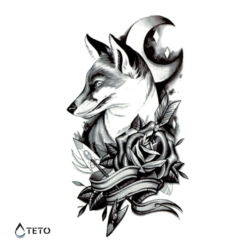 Vlk s květinou a Měsícem