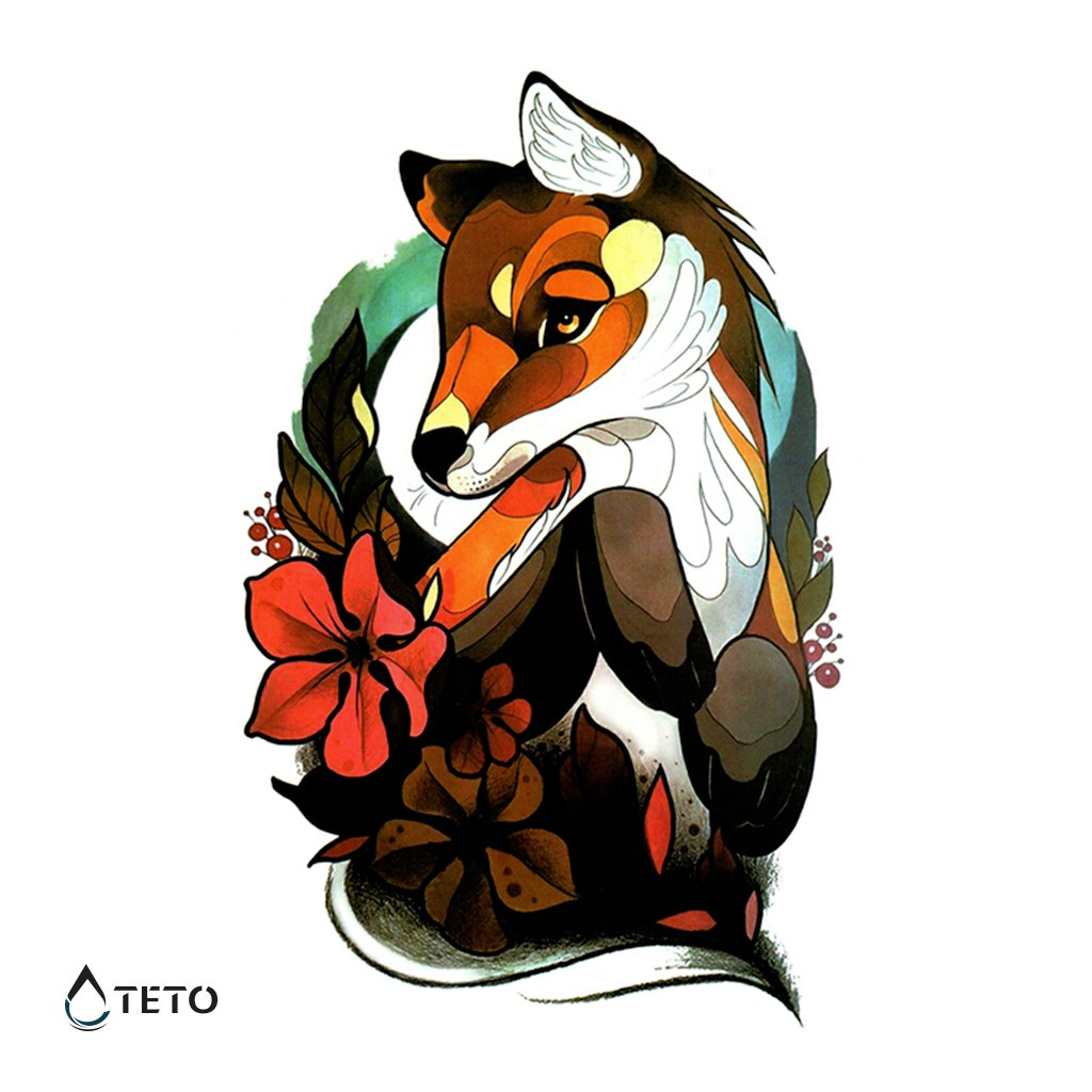 Liška s květinou