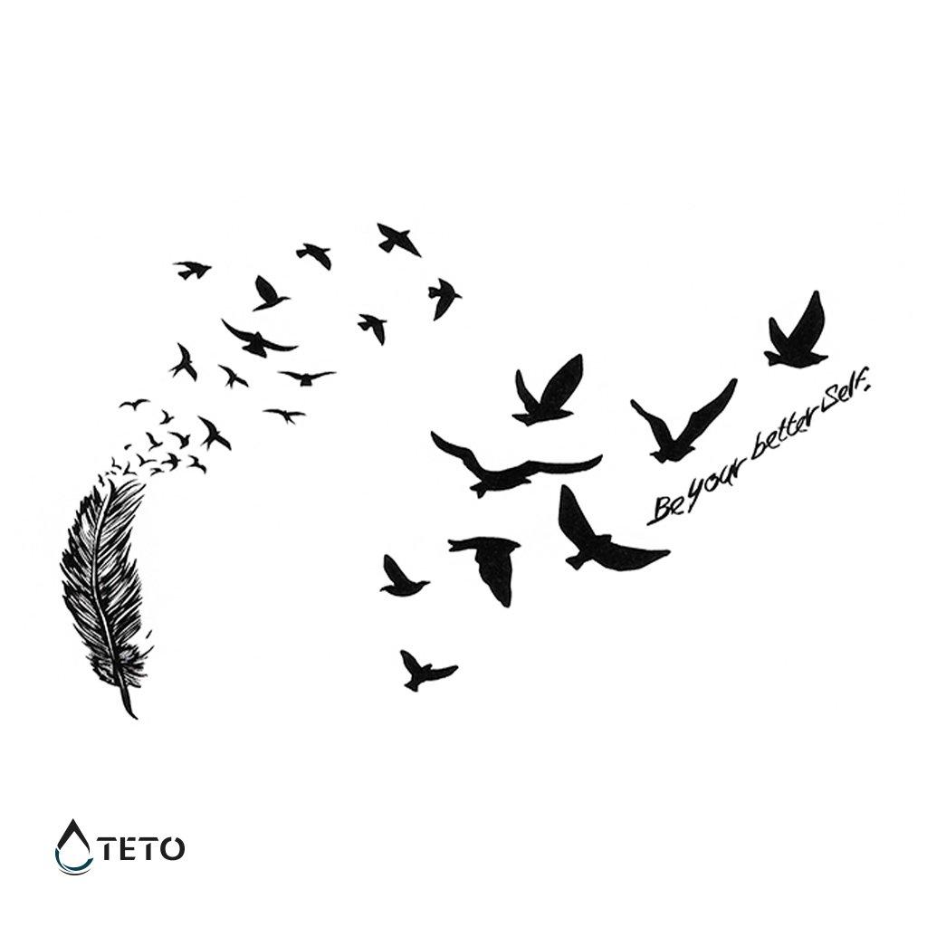 Pero s ptáky a textem