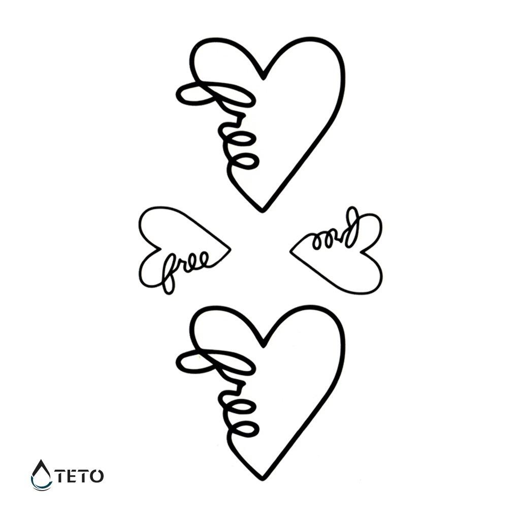 Srdce s textem svobodný – set