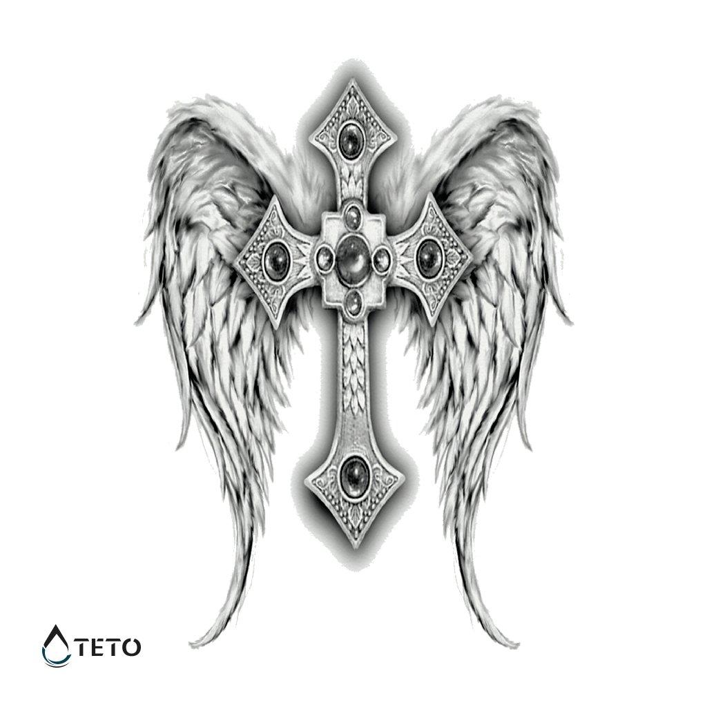 Kříž s křídly – Celá záda