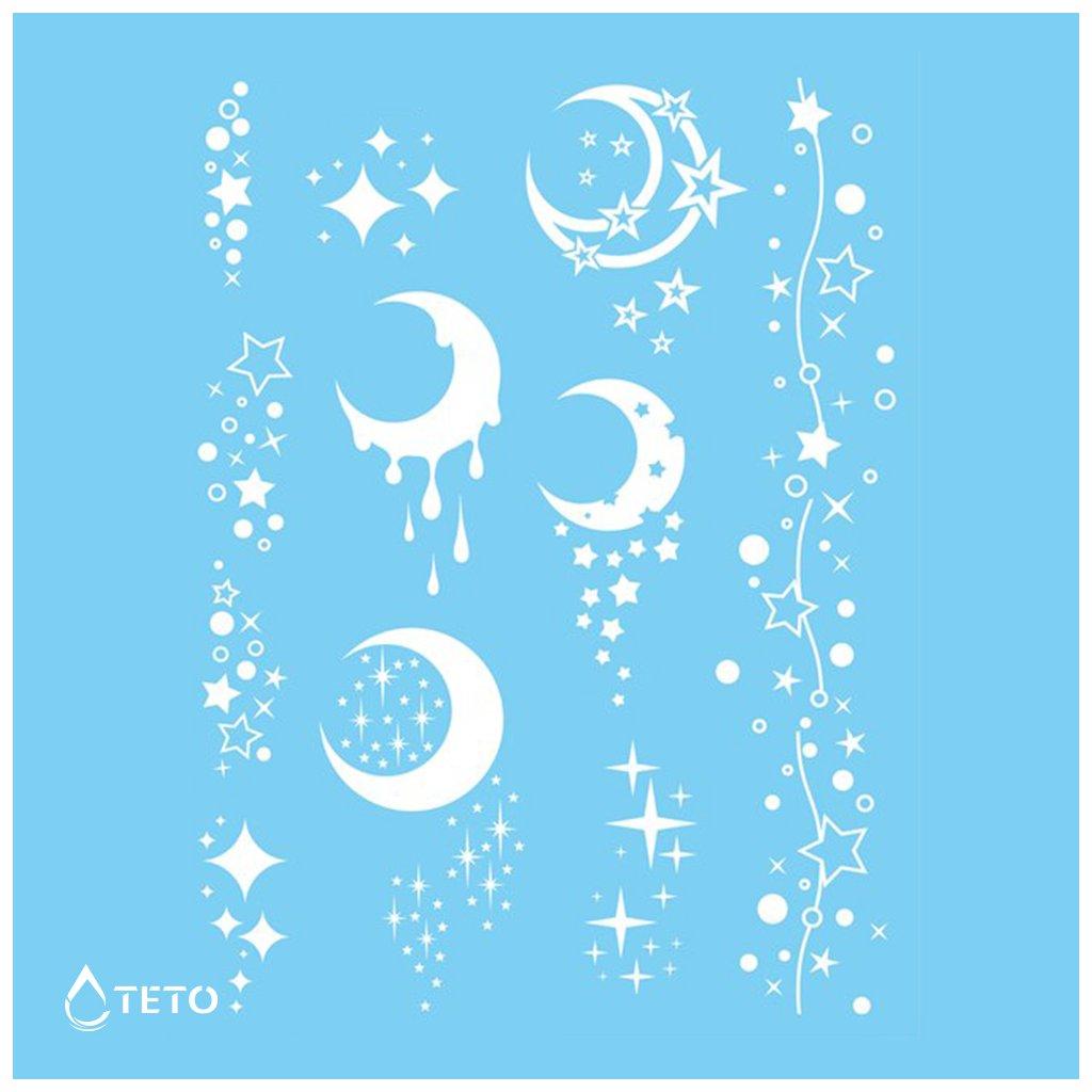 Hvězdy, Měsíc - Bílé - set