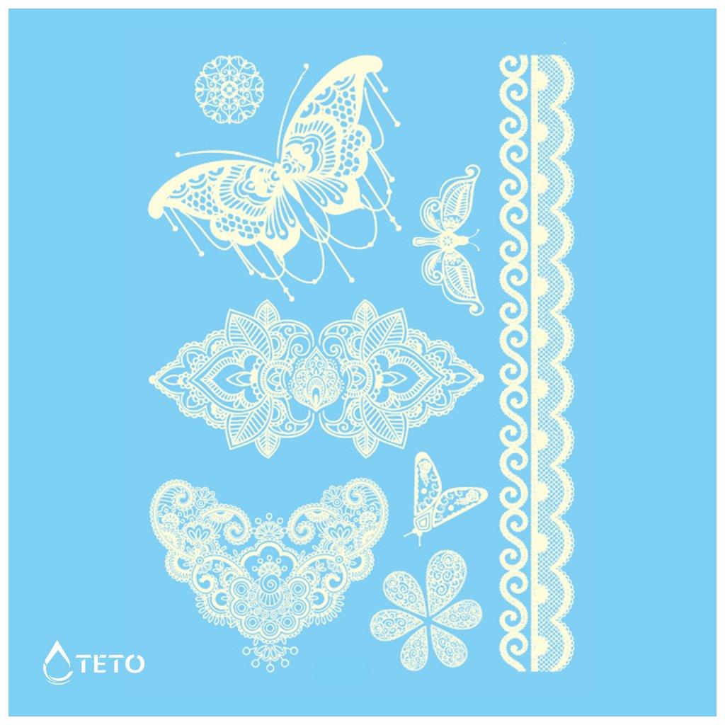 Motýli, Krajky - Bílé - set