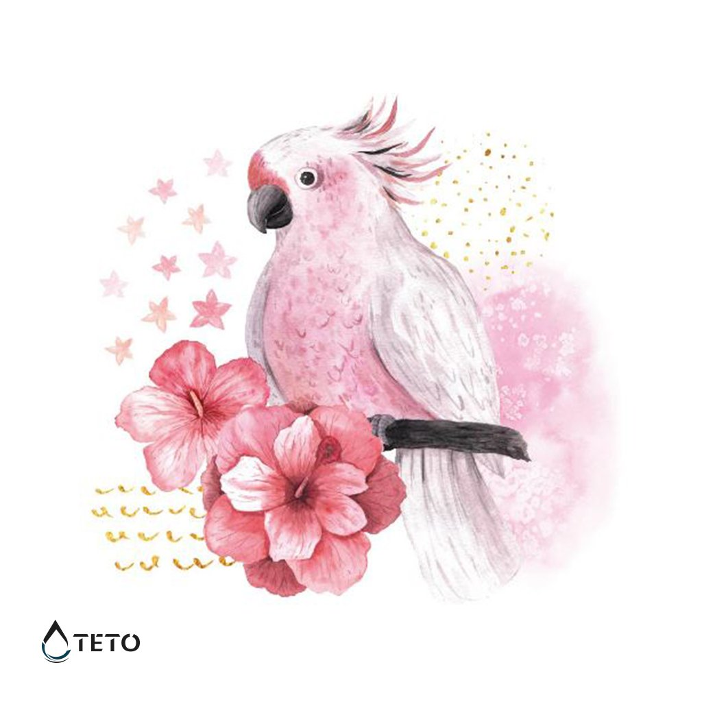 Papoušek s květinou