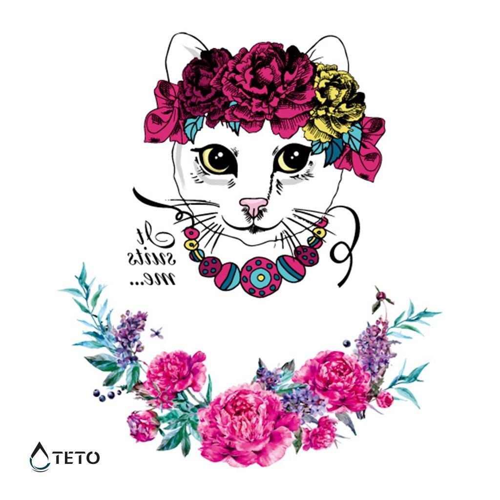 Kočka a květina - třpytivé - set