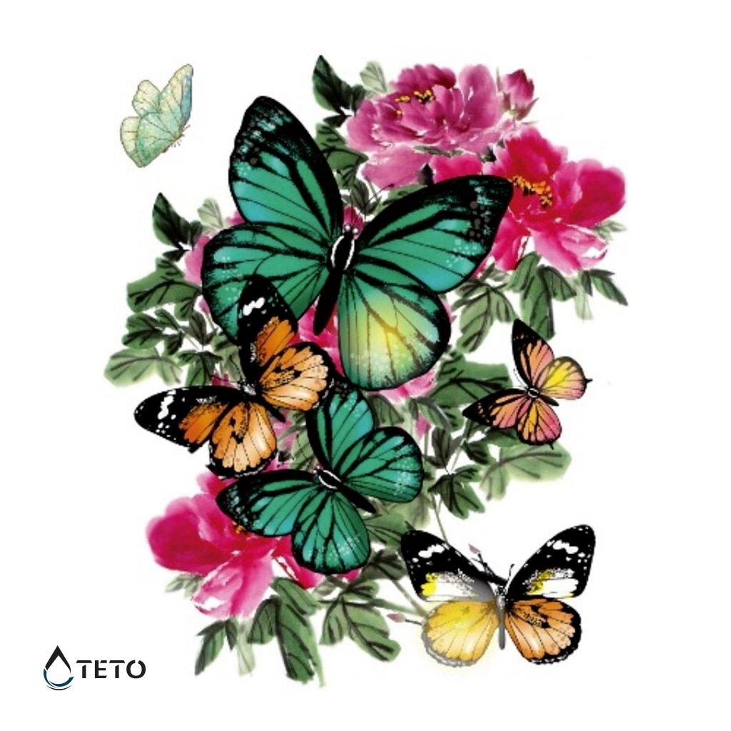 Motýli na květině