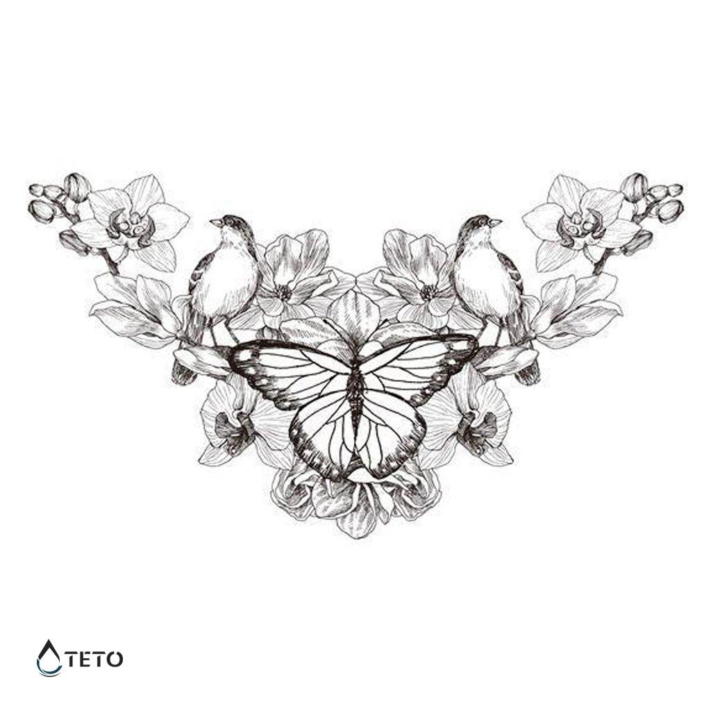 Motýl s ptáky a květiny