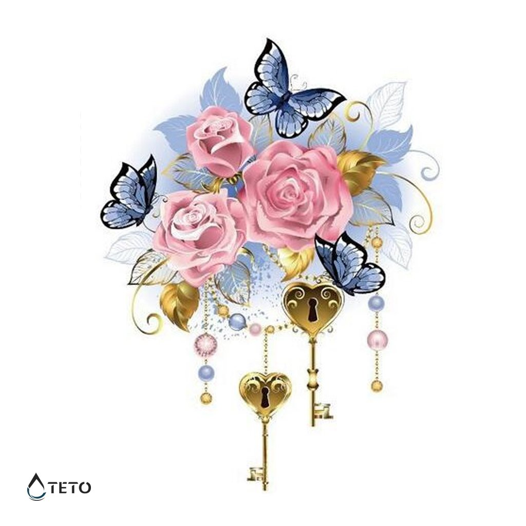 Růže s motýli a klíči