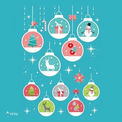 Vánoční baňky - bílé - set
