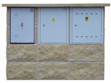 """přístřešek """"2003 PL-ER-EP"""" pro plynoměr, typizovaný rozvaděč a pojistkovou skříň"""