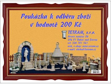 Poukázka k odběru zboží v hodnotě 200 Kč