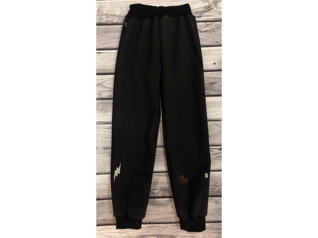 Zimní softshellové kalhoty - černé, blesk