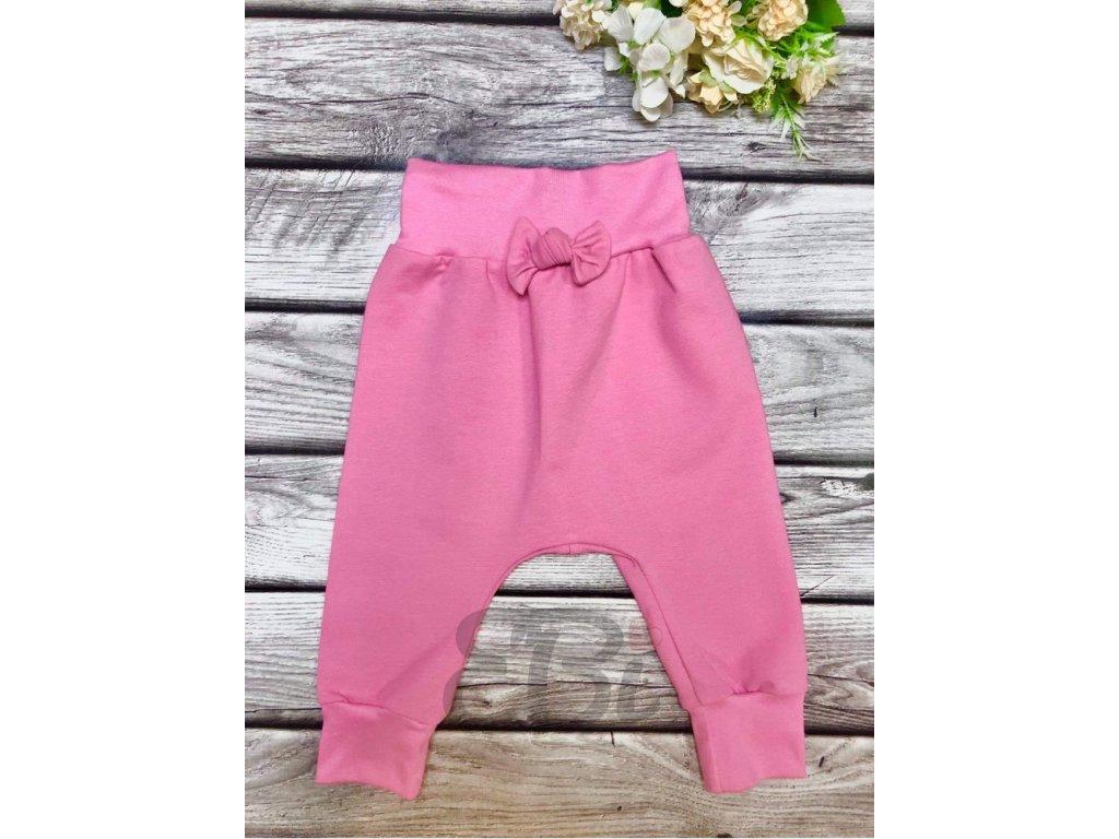 Rostoucí baggy kalhoty - růžová pastel, mašle