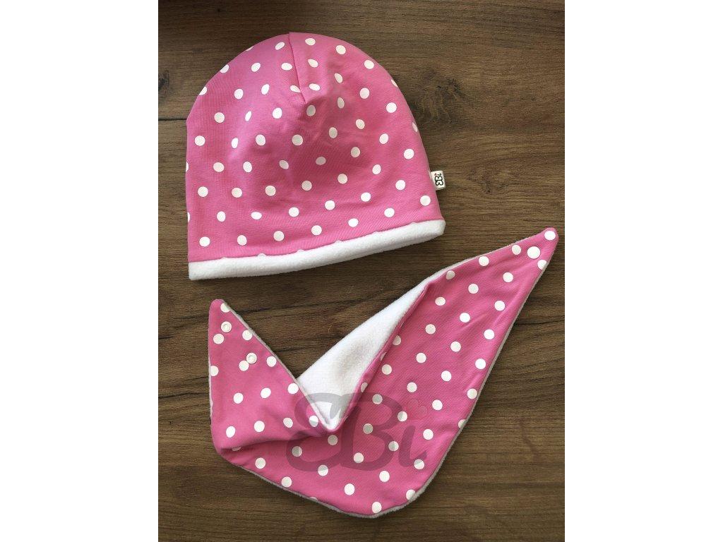Zimní set čepice se slintáčkem - růžový puntík