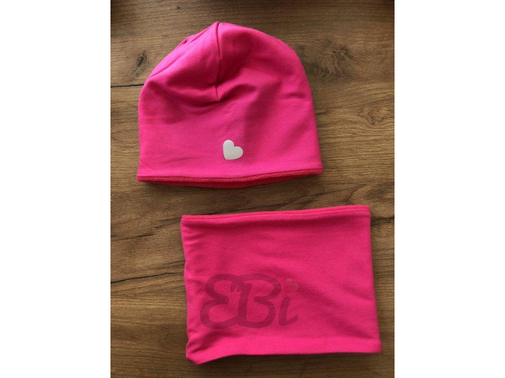 Zimní set čepice s nákrčníkem - dívčí růžová, reflex