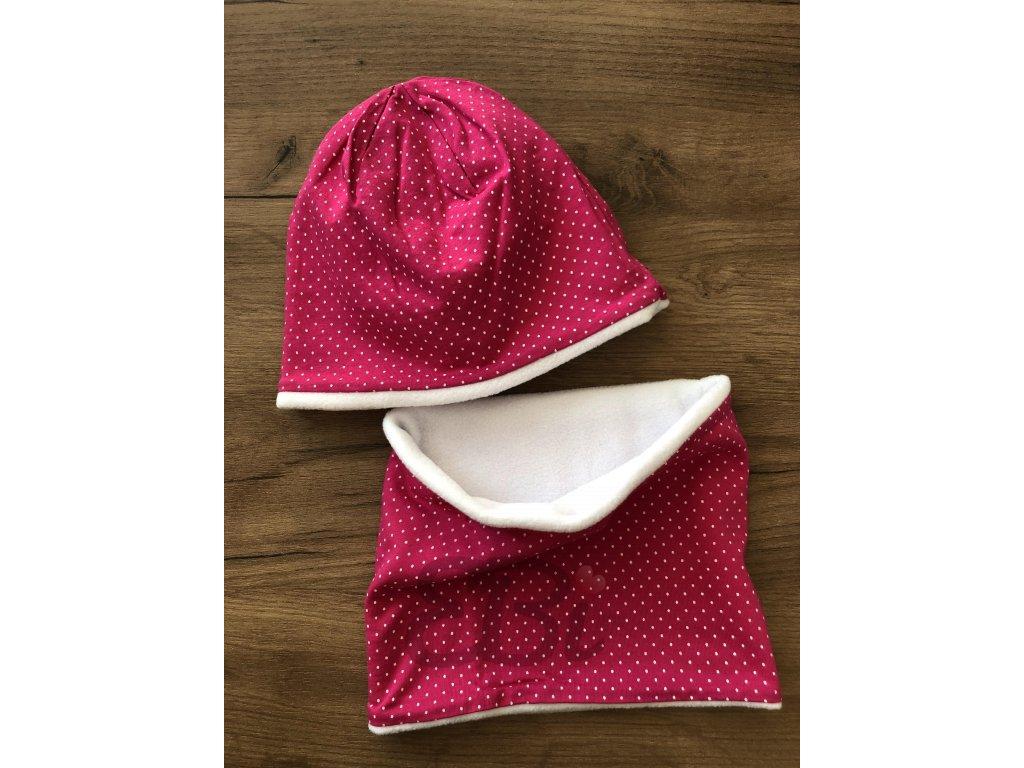 Zimní set čepice s nákrčníkem - růžová, jemný puntík