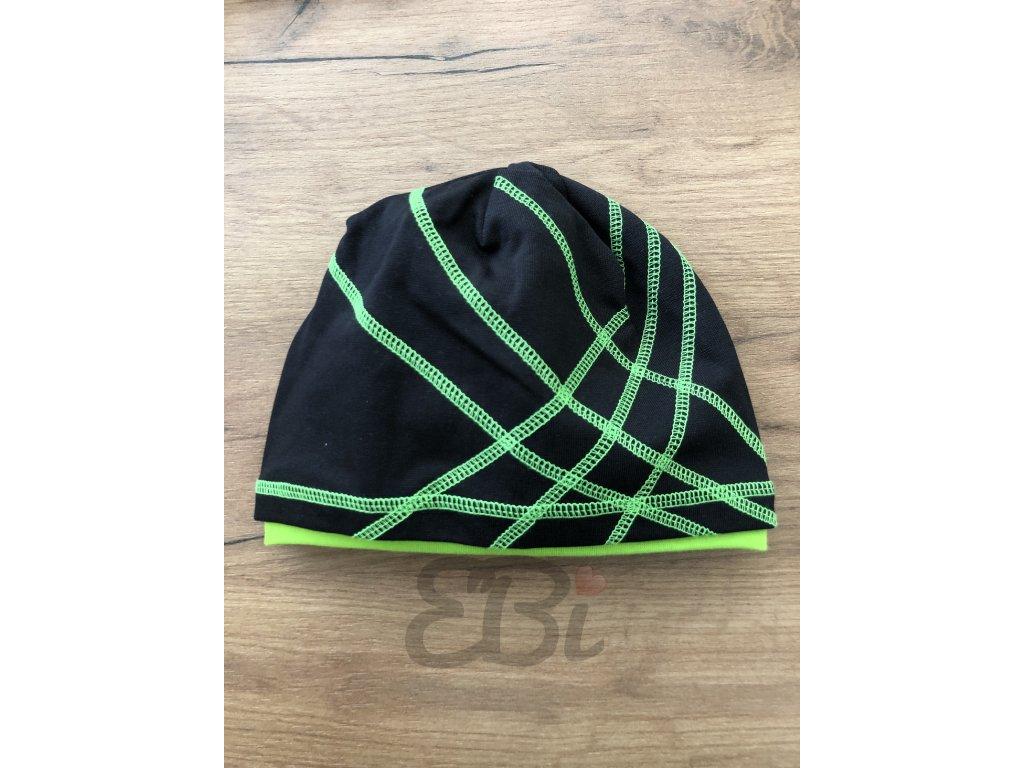 Čepice - černá, zelená neon