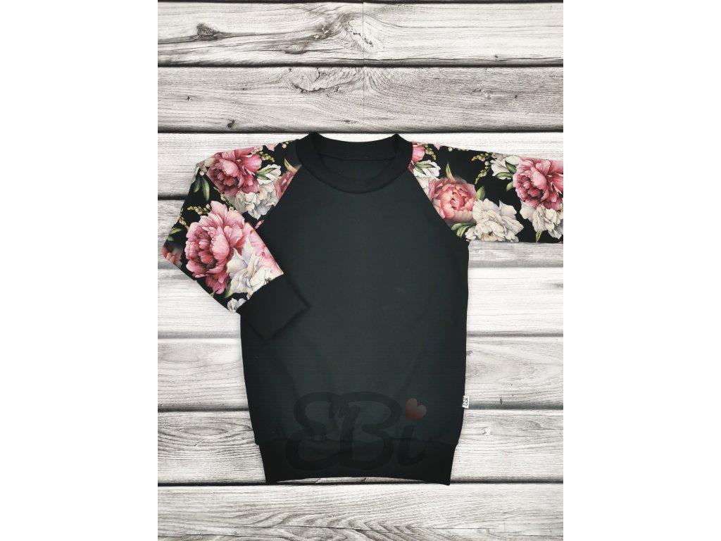 Mikina - black flowers