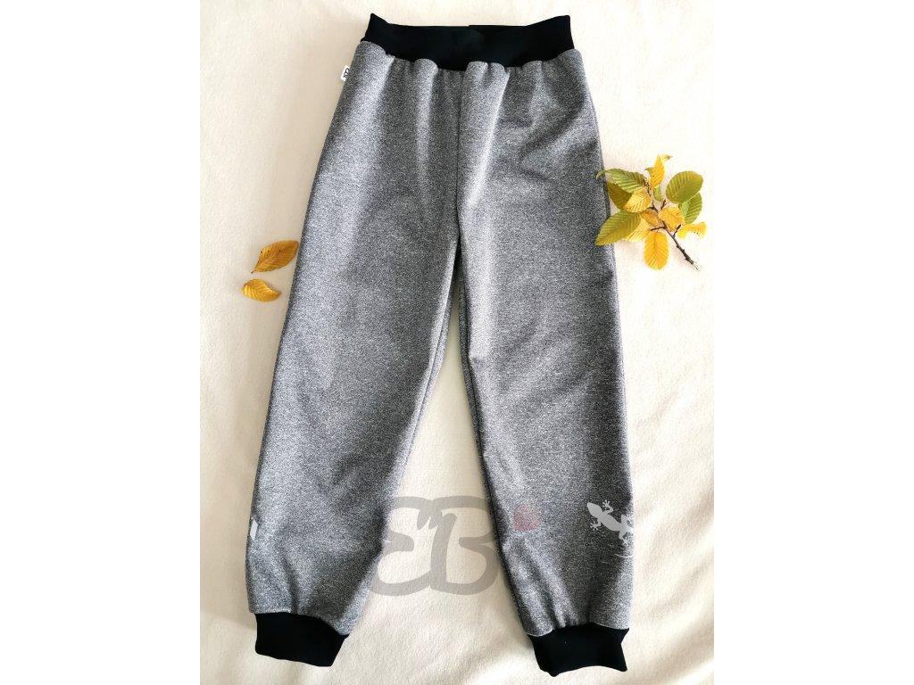 Softshellové kalhoty - šedý melír, ještěrka