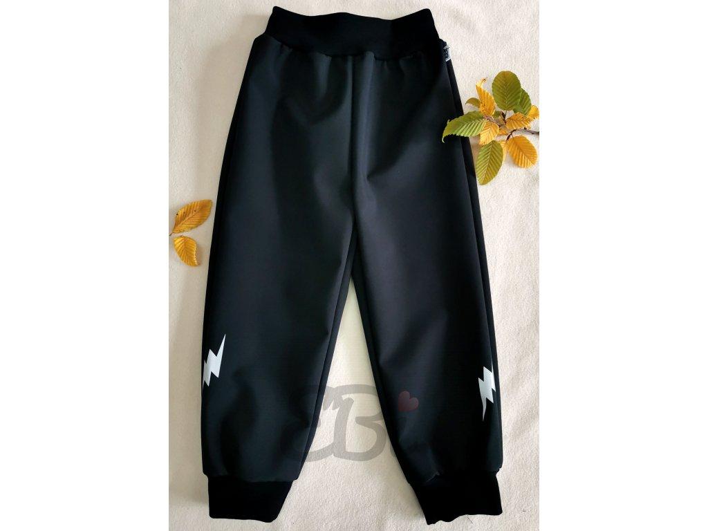 Softshellové kalhoty - černé, blesk
