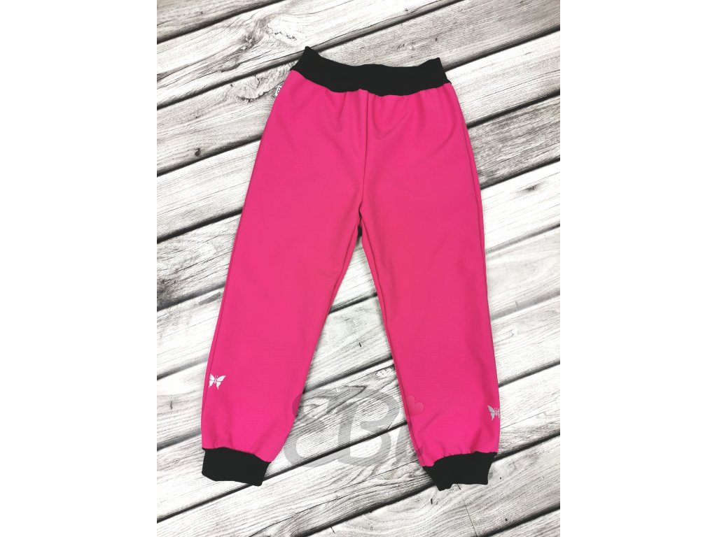 Zimní softshellové kalhoty - růžové, motýlci