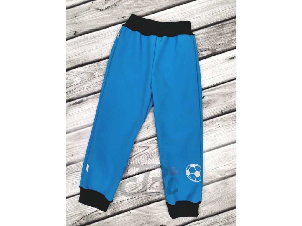 Zimní softshellové kalhoty -modré, fotbal