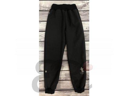 Zimní softshellové kalhoty - černé, ještěrka