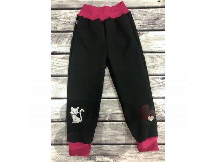 Zimní softshellové kalhoty - černé, kočka + srdce
