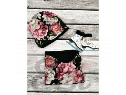 Čepice zimní - black flowers