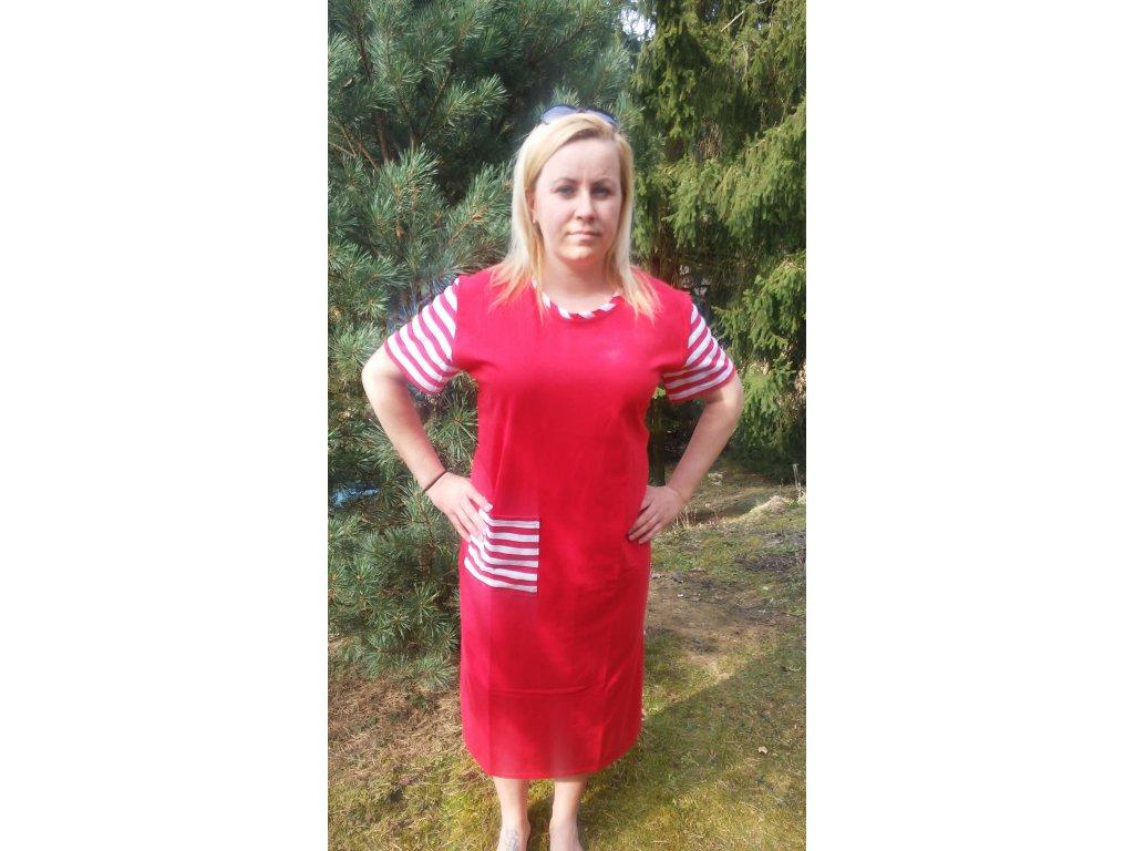 Dámské červené šaty s kapsou