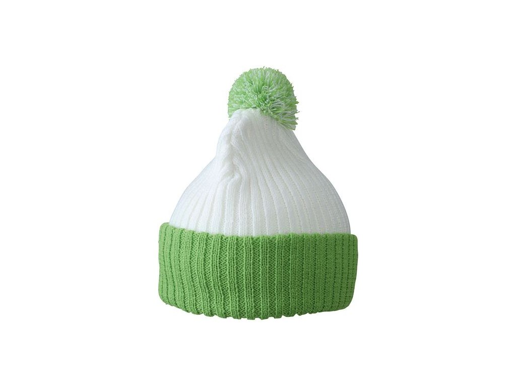 Dvojitě pletená čepice s bambulí bílá zelená