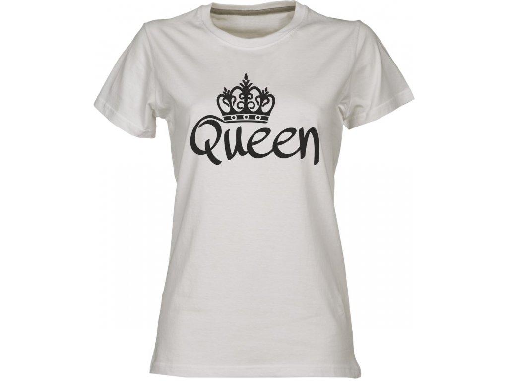Dámské tričko s potiskem OUEEN pro páry bílá 4391cb9c6c
