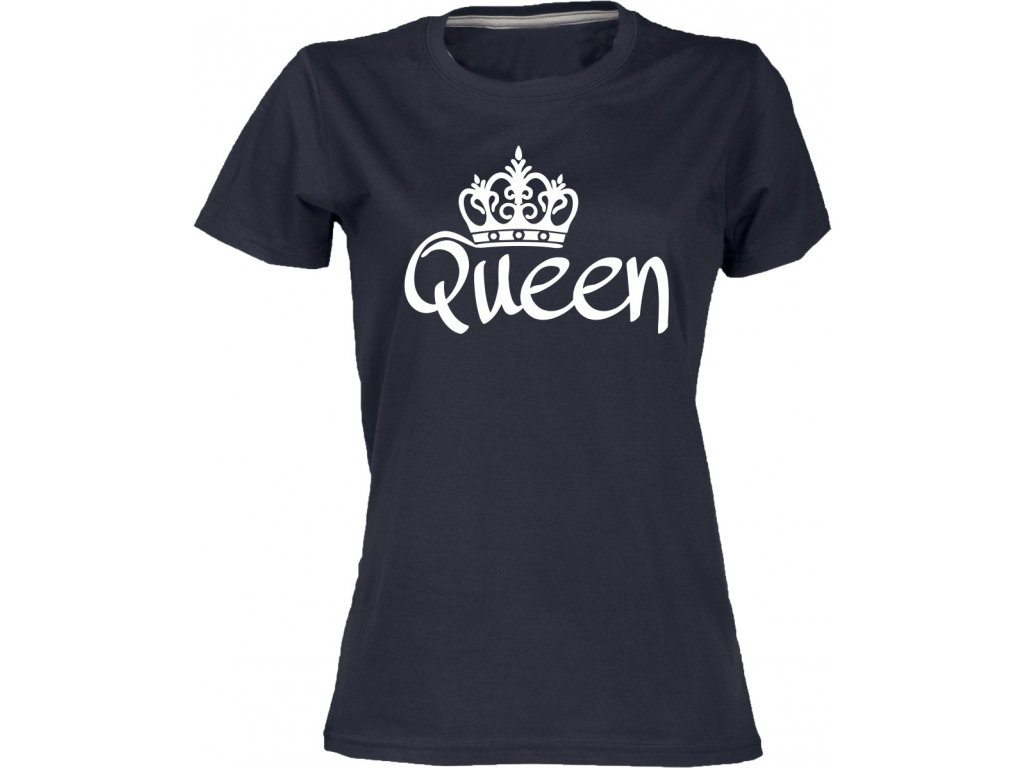 ... Dámské tričko s potiskem queen pro páry černá ... c9851b90ee