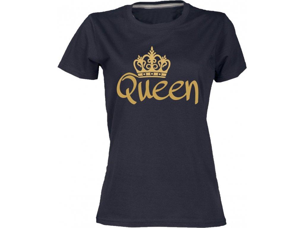 ... Dámské tričko s potiskem queen pro páry černá zlatá 49c764bf1d
