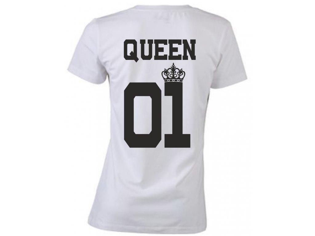 Tričko pro páry s potiskem QUEEN 01 bílá 2c99e6d9be