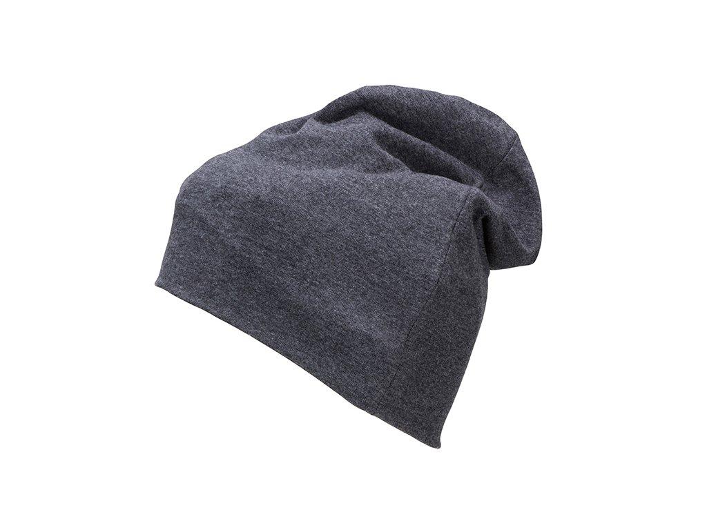 Módní slabší čepice z úpletu s přídavkem elastanu černý melír