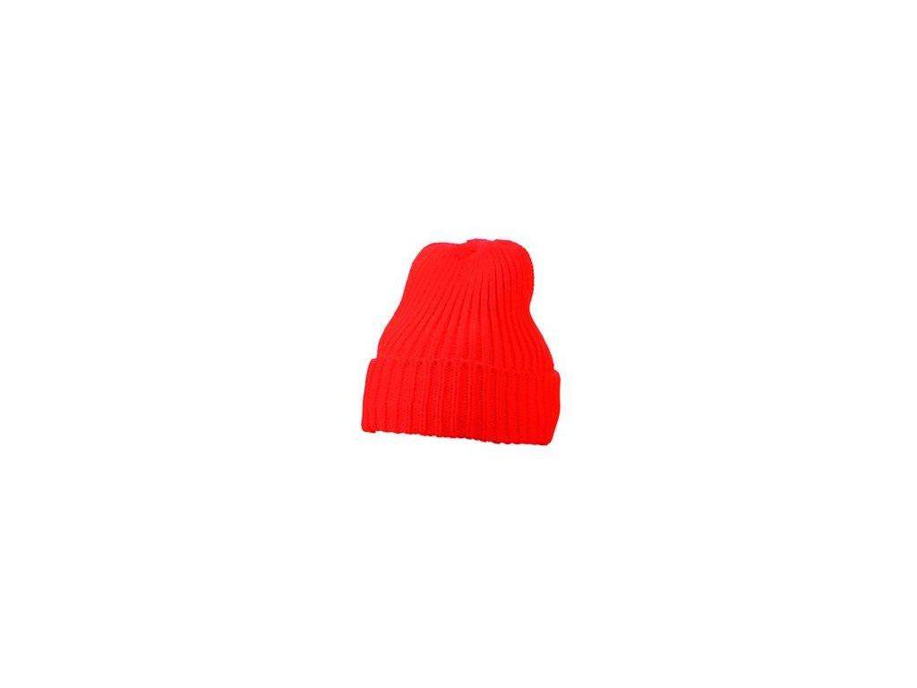 Pletená čepice s podšívkou červená