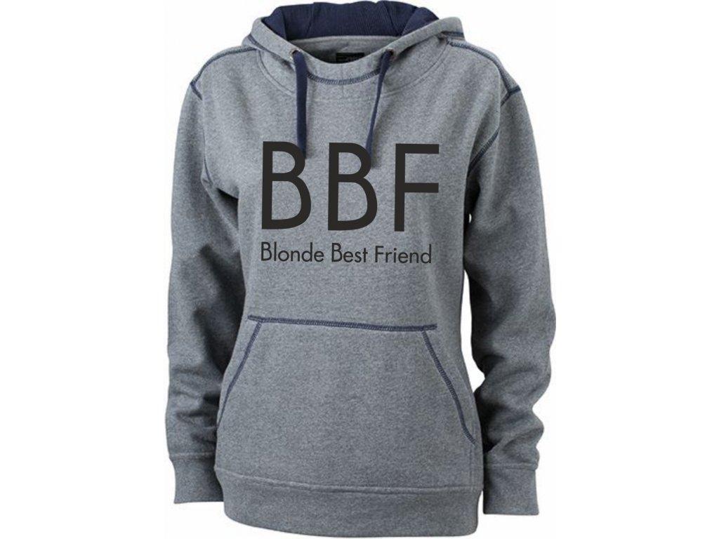 Mikina s potiskem BBF Blonde Best Friend šedý melír