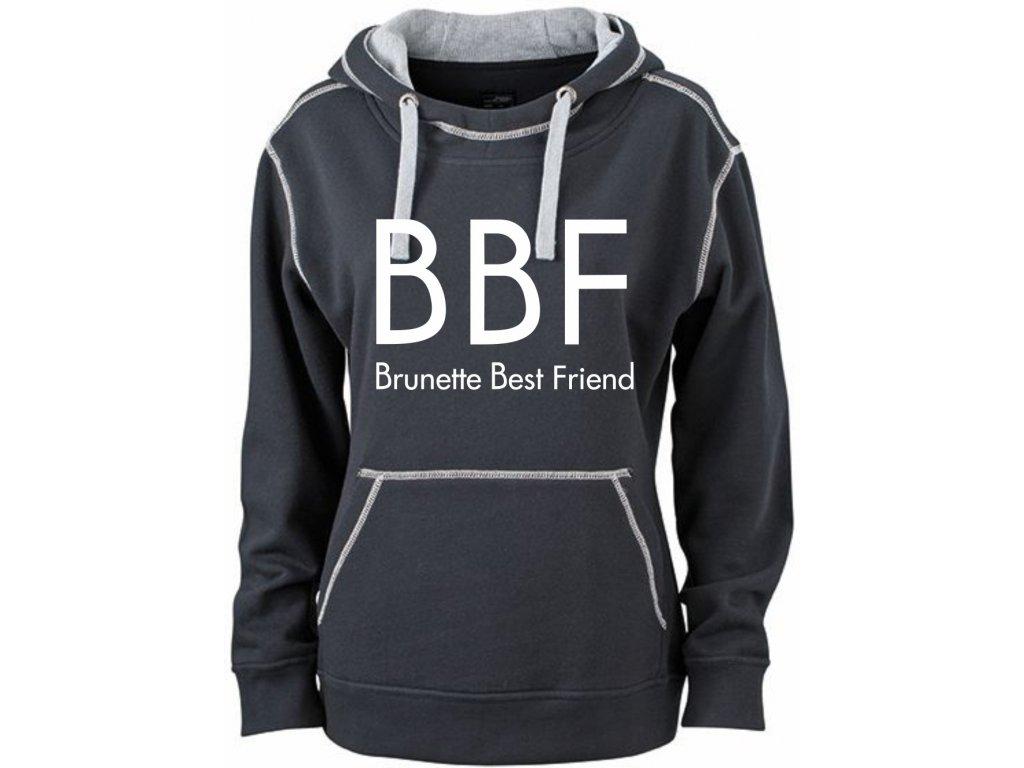 Mikina s potiskem BBF Brunette Best Friend černá