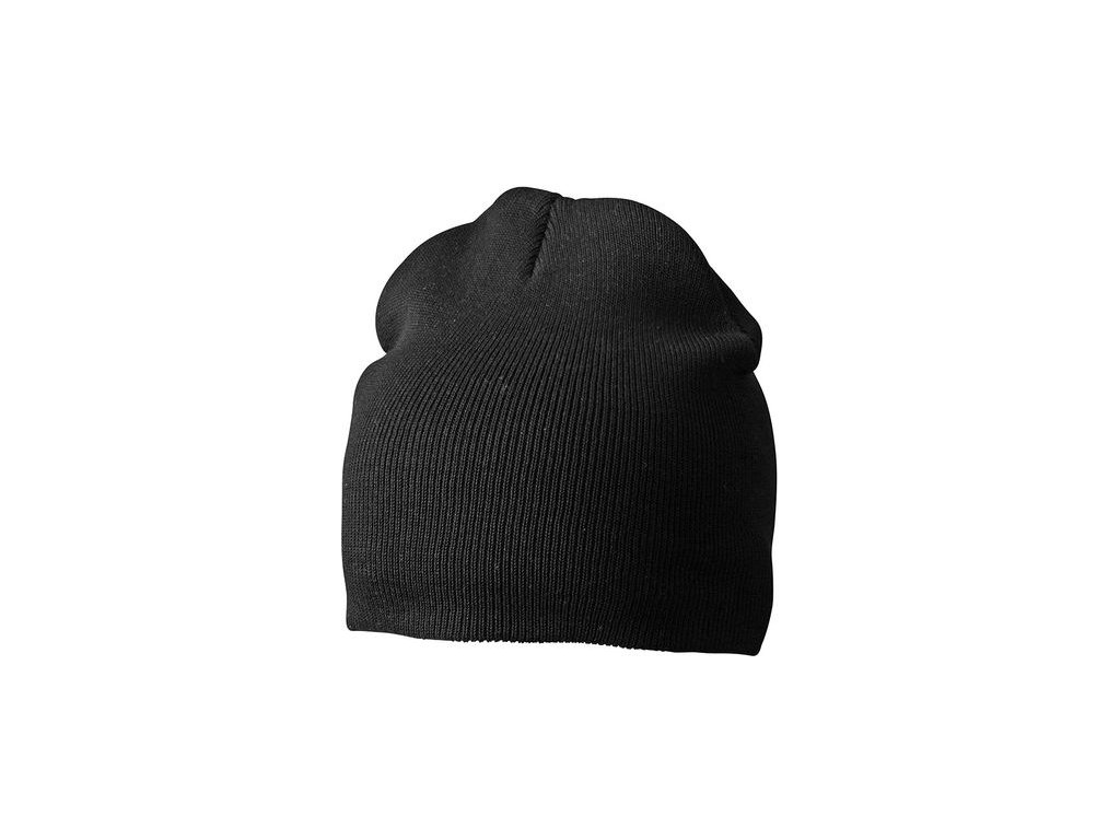 Dvojitě pletená těsně přiléhající čepice bez okraje černá