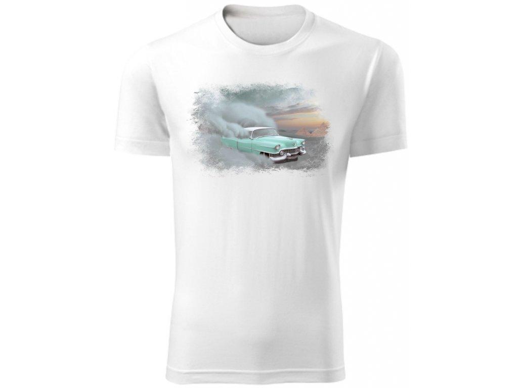 Pánské tričko s potiskem CADILLAC v poušti bílá