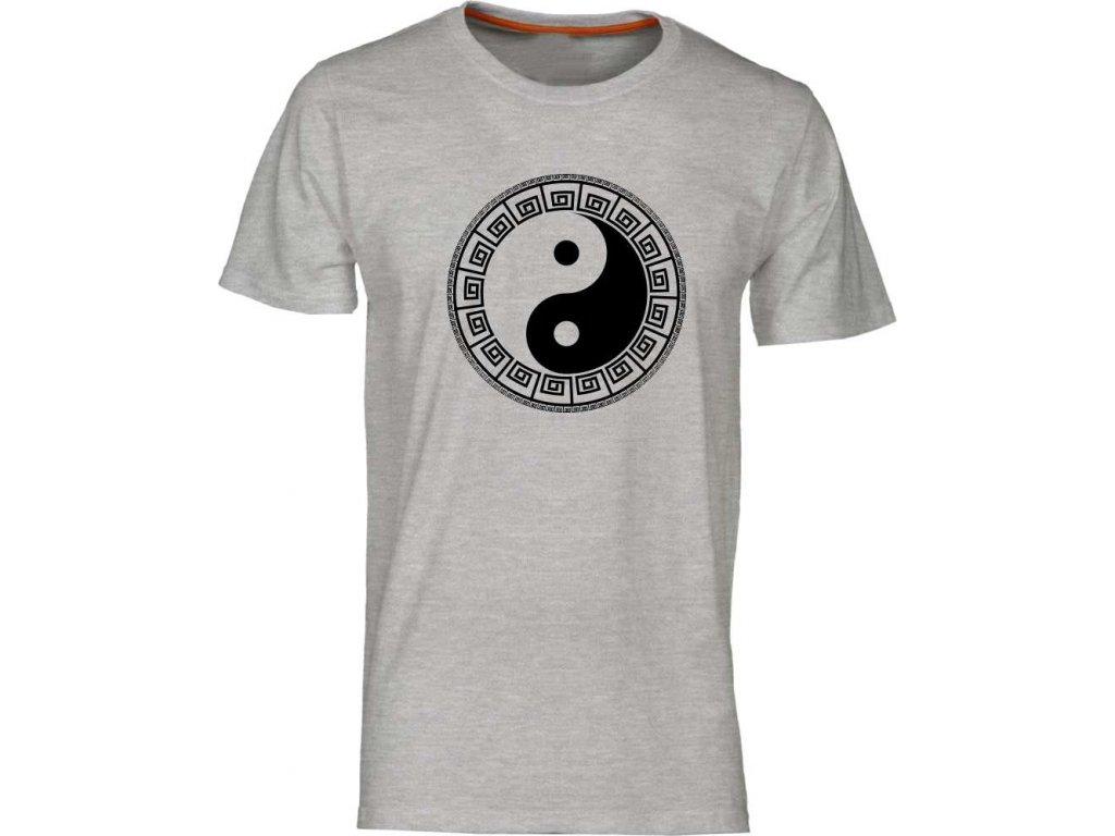 Harmonizující pánské tričko s potiskem JIN JANG melír vhodné jako dárek
