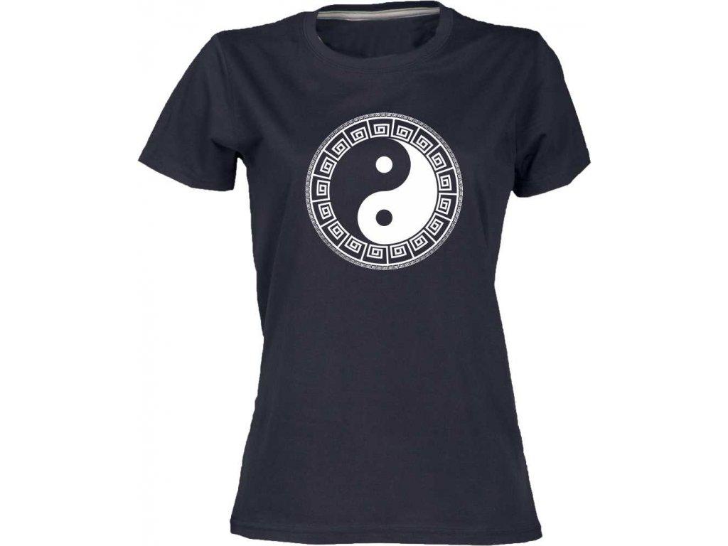 Dámské tričko s harmonizujícím potiskem JIN JANG jako dárek cerna