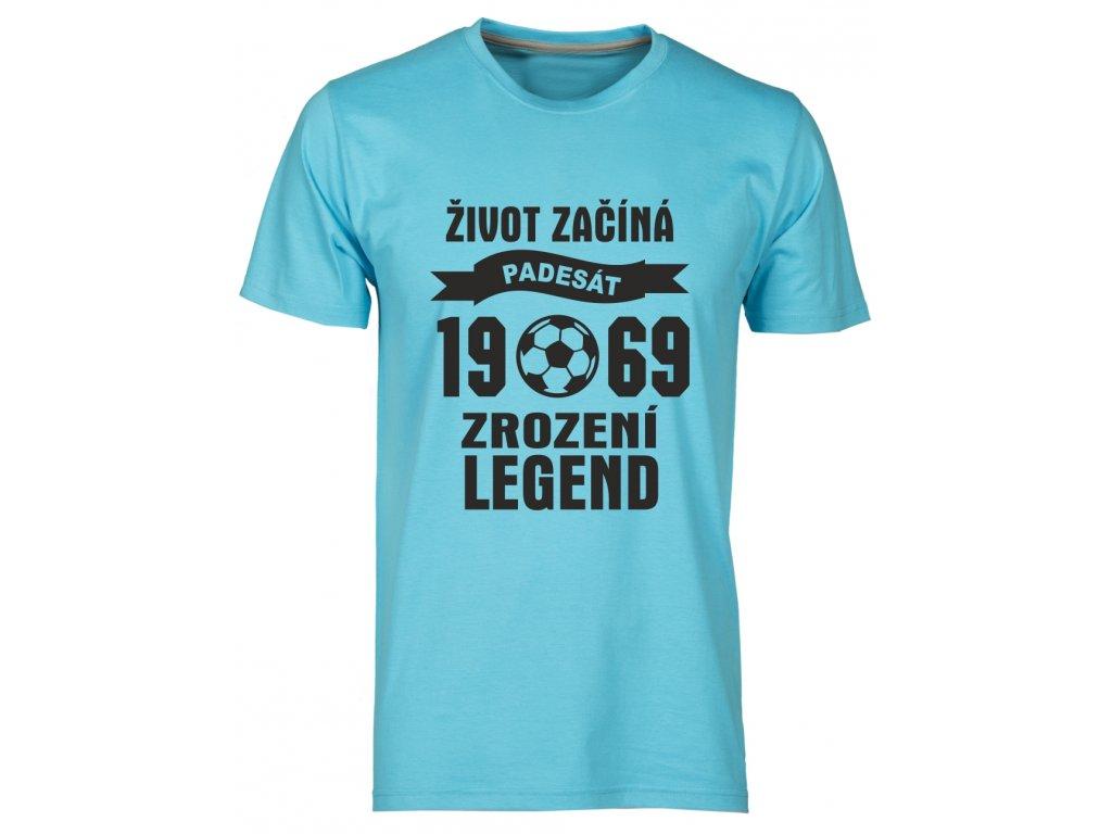 Tričko k 50 narozeninám s potiskem Život Začíná - padesát 1968 - Zrození Legend fotbal  bílá