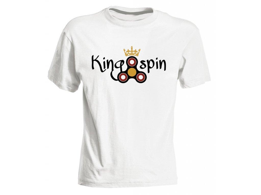 Dětské tričko s potiskem Fidget Spinner KING SPIN bílá c3c03407d2
