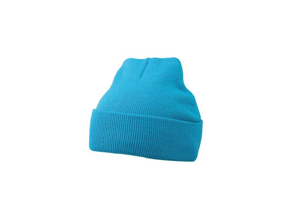 Tradiční pletená čepice s dvojitou vrstvou pletení a ohrnovacím lemem tyrkys