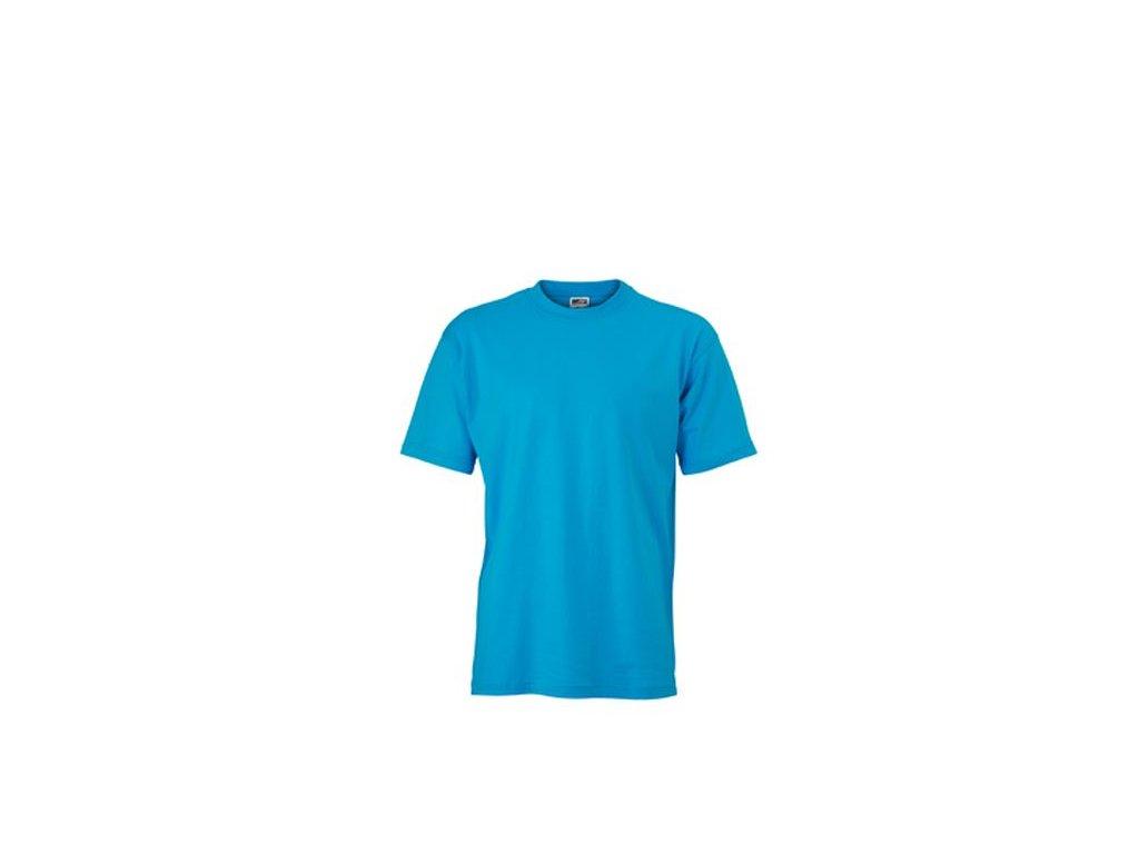 Klasické pánské tričko s kulatým výstřihem tyrkysová