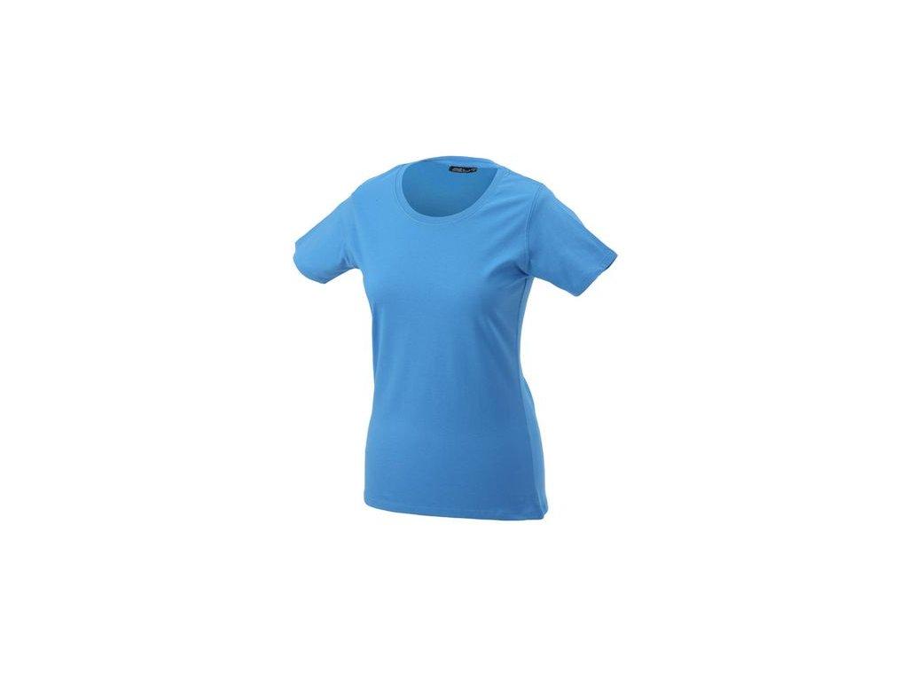 Příjemné dámské tričko s kulatým elastickým výstřihem modrá aqua