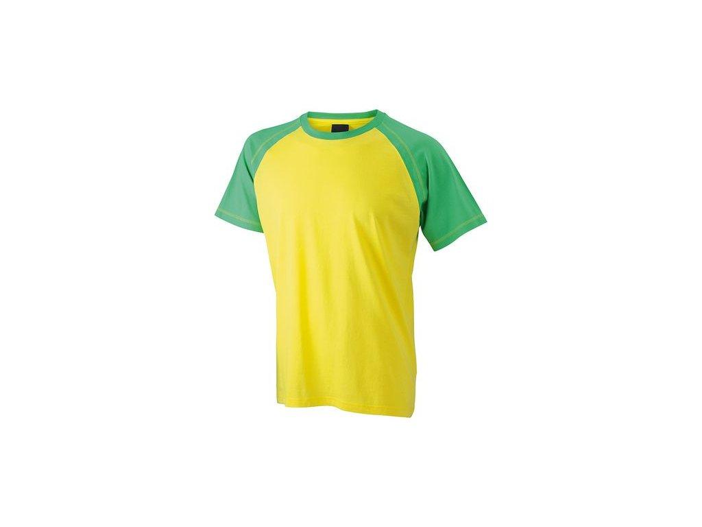 Pánská dvoubarevné tričko Raglan žlutá